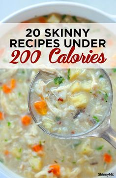 Slim down with these tasty, low-cal meal ideas. Meals Under 200 Calories, 300 Calorie Meals, No Calorie Snacks, Low Calorie Recipes, Healthy Dinner Recipes, Soup Recipes, Calorie Diet, Healthy Breakfasts, Healthy Food