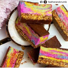 From Instagrammer: @featherandcrumb  Raw rainbow bounty slice  For more......... follow me on Instagram xx