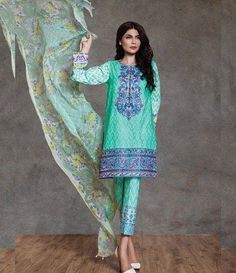 Sapphire Cambric Suits Collection 2015 Floral Suzani A