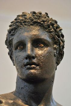 """The """"Antikythera Youth"""" Bronze , H. From the material retrieved in Ca. BC A rare thing about this bronze is that its glass eyes were intact. Ancient Greek Sculpture, Ancient Greek Art, Ancient Greece, Sculpture Head, Roman Sculpture, Bronze Sculpture, Classical Greece, Classical Art, 7 Arts"""