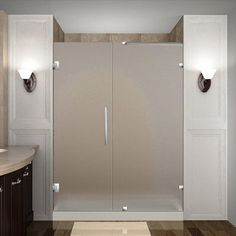 """Nautis 72"""" x 58"""" Completely Frameless Hinged Shower Door, Frosted Glass…"""