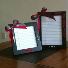Dry erase notepads made with picture frames for my teacher desk. :) Thank you Pinterest for this idea.