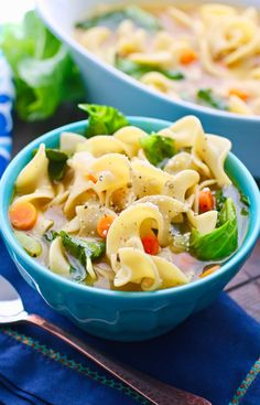 I had some big holiday fun last week and hope you did, too! But with non-stop fun with lots and lots of family and friends, a cold is pretty much inevitable (especially when you throw air travel into the mix). Vegetable Noodle Soup with Greens is just the thing to help you feel better.