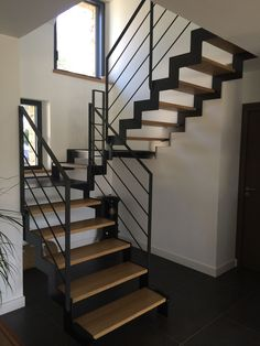 Manufacturing metal wood staircase modern staircase in Brittany Morbihan Fa Interior Stair Railing, Railing Design, Staircase Design, Railing Ideas, Escalier Design, Steel Stairs, Staircase Railings, Stair Treads, Modern Stairs