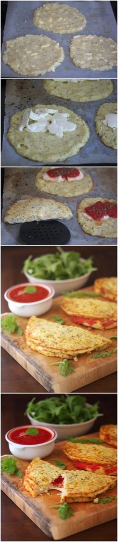 How To Make Cauliflower Crust Calzone Ingredients Crust: 1 small head cauliflower, cut into small florets (should yield about 3 cups . Low Carb Recipes, Vegetarian Recipes, Cooking Recipes, Healthy Recipes, Cohen Diet Recipes, Healthy Cooking, Healthy Eating, Cauliflower Crust, Love Food