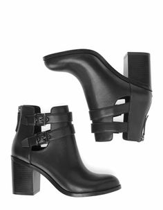 High heel cut-out ankle boots