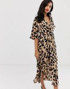 Liquorish – Leopardmönstrad midiklänning i satin med snurrad knut framtill 491e817467c2b
