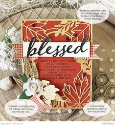 Thankful Thoughts + On the Border: Fall Foliage + Sweet Blessings + Inside Greetings – Ink to Paper Thanks Greetings, We R Memory Keepers, Fall Cards, Gold Ink, Flourish, Hibiscus, Embellishments, Blessed, Greeting Cards
