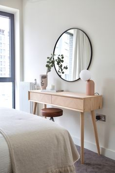 A beautiful dressing table to get ready at in a super stylish airbnb designed by Topology Interiors. Simple styling and a neutral colour palette adds to the sophistication of the design. Dressing Table Decor, Bedroom Dressing Table, Dressing Room Design, Bedroom Table, Room Ideas Bedroom, Home Bedroom, Bedroom Decor, Dressing Tables, Narrow Dressing Table