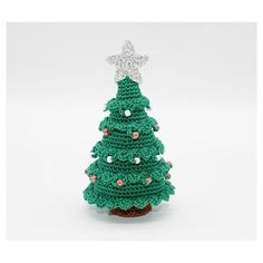 Christmas tree gift, crochet ornament, small decoration, green display... ($25) ❤ liked on Polyvore featuring home, home decor, holiday decorations, xmas tree ornaments, crochet ornaments, christmas tree ornaments, hand made ornaments and handmade home decor