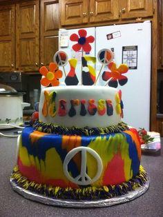 Tye-dyed peace sign cake