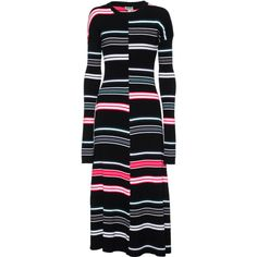 KENZO Runway Wool Stripe Multi // Patterned maxi knit dress ($545) ❤ liked on Polyvore featuring dresses, striped dress, knit maxi dress, black dress, a line maxi dress and a line dress