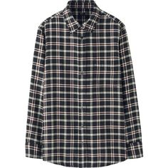 UNIQLO Women Flannel Check Long Sleeve Shirt ($30) ❤ liked on Polyvore featuring tops, black, flannel top, tartan plaid flannel shirt, uniqlo, plaid top and long sleeve shirts