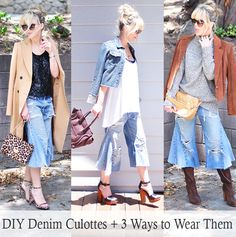 DIY Denim Culottes & 3 Ways to Wear Them Stylishly