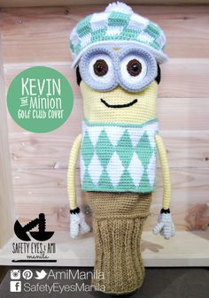 """This is a pattern for 1 Kevin the Minion Golf Club Cover made of 5 parts - Head/Body, Hat, Goggles, Vest, and Sock - using different crochet techniques including tapestry crochet and Knooking.  This pattern can be made to fit a 460cc driver approximately 13.5 - 16"""" in circumference but may be adjusted to fit smaller clubs."""