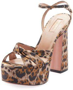 242c9aa6951 Aquazzura Baba Plateau Leopard Fabric Platform Sandal  SandalsHeels  Aquazzura