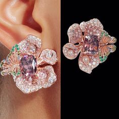 Anabela Chan (@anabelachan) on Instagram: The Rose Tourmalines Peony Butterfly Earrings . English Garden Collection