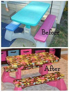 Carolines crafty corner redone plastic table and chairs for the plastic picnic table re do watchthetrailerfo