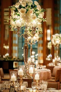 Tall Wedding Centerpieces, Candelabras, Pomanders || Colin Cowie Weddings