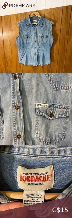 """Vintage 90's Jordache Denim Shirt Size: M Shoulder to shoulder: 16"""" Pit to pit: 18.5"""" Length: 24"""" Vintage Tops Button Down Shirts Jean Button Up Shirt, Denim Button Down, Denim Top, Denim Shirt, Vintage Jeans, Vintage Tops, Green Flannel, Tommy Hilfiger Sweater, Pink Pants"""