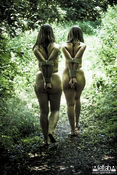 3-holes-2-tits: fetlab: into the woods..s Rigger: Hapagornis Photo: fetlab Out in the woods, walking fully exposed with useless arms secured behind the back. A lovely and well done image that makes you wonder… are they just strolling outside, or is something deeper going on?