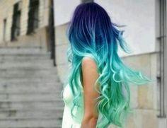 dip dyed hair blue - Google Search