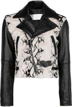 Fur Panel Leather Biker Jacket - (from Mango)