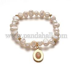 Natural Pearl Charm BraceletsBJEW-L529-35-1