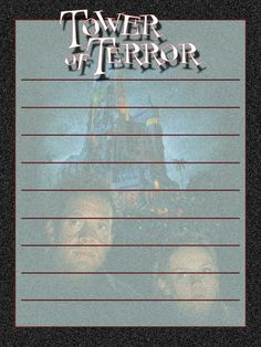 "Tower of Terror movie - Project Life Journal Card - Scrapbooking ~~~~~~~~~ Size: 3x4"" @ 300 dpi. This card is **Personal use only - NOT for sale/resale** Logo/movie poster belongs to Disney. *** Click through to photobucket for more versions of this card ***"