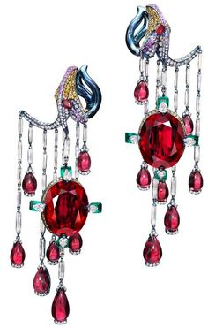 Wallace Chan Vermillion Veil earrings
