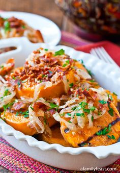 Grilled Sweet Potato with Sweet and Sour Bacon Dressing - A delicious way to eat sweet potatoes without turning on the oven!  Great for summertime dinners.