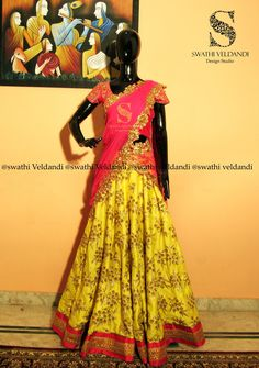 Beautiful Yellow + Pink combination Traditional Lehenga embellished with Antique Jardosi in Dupatta and Blouse..Perfect for Weddings Engagements and traditional Events..Call / Watsapp : +918179668098 +918309060238 22 January 2017