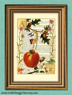 LETTER A  Children alphabet  Dictionary Art by littlevintagechest, $7.99