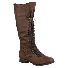 Buy Breckelle's Womens Georgia-35 knee high combat boots | Shiekh Shoes
