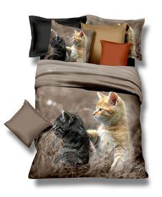 Pościel beżowa z mikrowłokna w dwa kotki