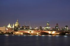 Photo about Skyline of central london at night thames river flowing past st pauls and the city financial district. Image of flowing, exterior, cityscape - 31021837 London Night, London City, London Must See, Famous Monuments, River Thames, London Photography, Where To Go, United Kingdom, Taj Mahal