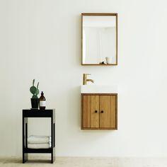 Bamboo bathroom furniture perfect for the small bathroom. Bamboo Bathroom, Small Bathroom, Bathroom Furniture, Modern Furniture, Floating Nightstand, Floating Shelves, Porcelain Sink, Wet Rooms, Vanity Sink