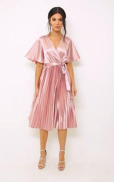 Pink Satin Dress, Silky Dress, Satin Dresses, Sexy Dresses, Dresses For Work, Midi Dress Work, Pleated Midi Dress, Chiffon Skirt, Pleated Skirts