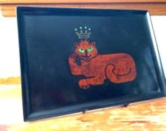 Vintage Mid Century Modern Couroc Monterey Art Inlay Lion Large Serving Tray