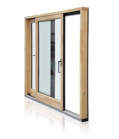EcoClad Sliding Patio Door - Grey - Pine Finish Inside (Munster Joinery)