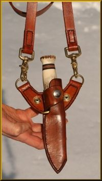This adapter John made is perfect for carrying your sheath knife outside winter coats.  Baldric Rig Adapter - Survival Resources