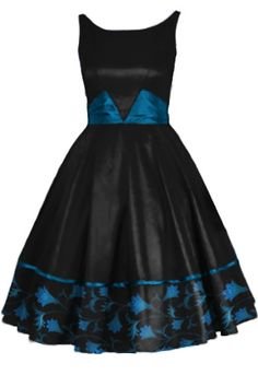 Printed Dress With Satin Sash By Amber Middaugh #1950 #Rockabilly #Vintage # Retro