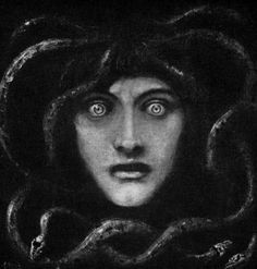Medusa by Franz Von Stuck. Franz Stuck (1863 - 1928) was a German painter, sculptor, engraver, and architect. His subject matter was primarily from mythology and his seductive female nudes are a prime example of popular Symbolist content.
