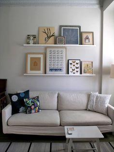 2 Ledge Shelf IKEA Ribba Picture Photo Display White Modern Art Shelves NEW Living room refresh Ikea Picture Ledge, Picture Shelves, Wall Shelves, Ledge Shelf, Design Loft, Deco Design, Inspiration Ikea, Photo Shelf, Above Couch