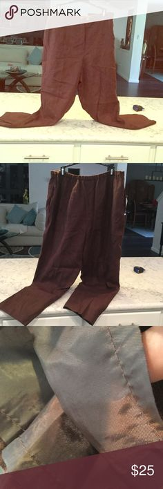 """💯 % Linen lined Professional Slacks in Chocolate. Great Condition. Ready for work or play. Straight leg.  Button and zip closure. Elastic at each side. Pockets also. Amazing quality !  Inseam 27"""" Harve Benard Pants Trousers"""