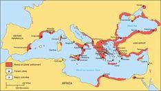 Mapa das colônias gregas no Mar Mediterrâneo.  Greek Colonization Archaic Period - Grécia – Wikipédia, a enciclopédia livre