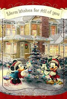 Mickey Mouse and Minnie Mouse Thomas Kinkade Christmas New Year Greeting Card with Gift Bag Christmas Scenes, Christmas Art, Christmas Greetings, Vintage Christmas, Mickey Mouse Christmas, Mickey Minnie Mouse, Disney Mickey, Thomas Kinkade Christmas, Thomas Kinkade Disney