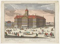 View of the City Hall and the Dam in Amsterdam, Georg Balthasar Probst, by P. Dam Square, Old Paintings, City Council, Royal Palace, Amsterdam, Taj Mahal, Building, Travel, Beautiful