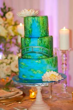 Monet Water Lily - Cake by SimplySweetByJessica Gorgeous Cakes, Pretty Cakes, Amazing Cakes, Crazy Cakes, Fancy Cakes, Lily Cake, Hand Painted Cakes, Garden Cakes, Just Cakes
