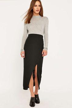 Sparkle & Fade Ribbed Midi Skirt